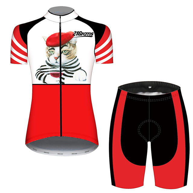 21Grams Women's Short Sleeve Cycling Jersey with Shorts Red / White Cat Patchwork Animal Bike Clothing Suit Breathable 3D Pad Quick Dry Ultraviolet Resistant Sweat-wicking Sports Cat Mountain Bike