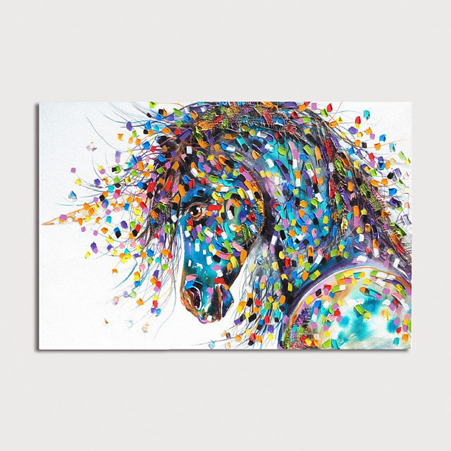 Hand Painted Canvas Oilpainting Abstract Horse Home Decoration with Frame Painting Ready to Hang