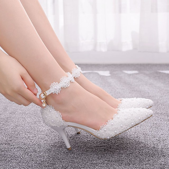 Women's Wedding Shoes Stiletto Heel Pointed Toe Sweet Wedding PU Imitation Pearl Buckle Stitching Lace Solid Colored White