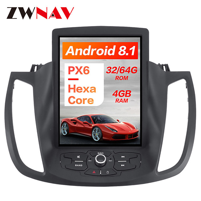 ZWNAV 10.4inch 1 Din PX6 4GB 64GB Tesla style Android 8.1 Car GPS Navigation Car multimedia Player In-Dash Car DVD Player For Ford KUGA 2013