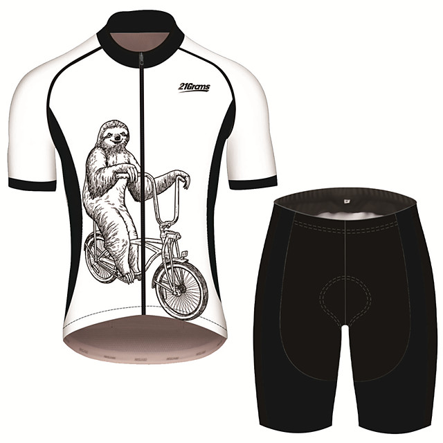 21Grams Men's Short Sleeve Cycling Jersey with Shorts Spandex Polyester Black / White Animal Sloth Bike Clothing Suit UV Resistant Breathable 3D Pad Quick Dry Sweat-wicking Sports Solid Color