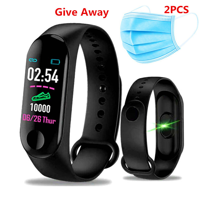 Complimentary 2PCS Mask M3 Smart Wristband BT Fitness Tracker Support Notify / Heart Rate Monitor Blood Pressure Oxygen Monitoring Waterproof Sport Bluetooth Smartwatch Compatible IOS / Android Phones