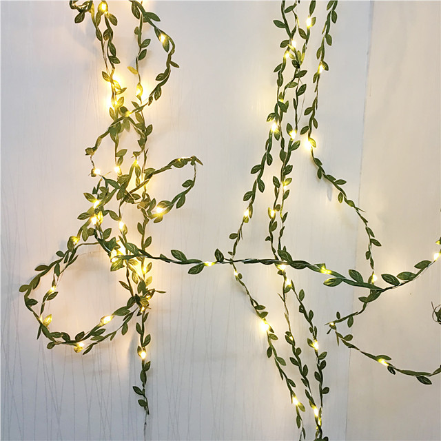 10M 100LEDs Green Leaves Garland Fairy Lights LED Copper Wire Artificial Plants Lights for Wedding Christmas Home Party Decoration(come without battery)