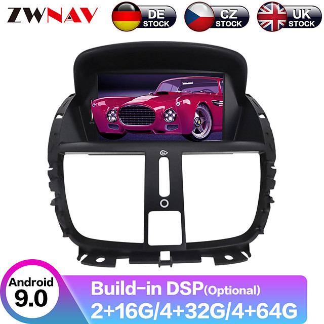 ZWNAV 7inch 2din Android 9 4GB 64GB Car GPS Navigation Car DVD Player Car multimedia player radio tape recorder DS For Peugeot 207 2007-2014