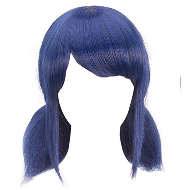 Synthetic Wig Straight Halloween With 2 Ponytails Wig Medium Length Blue Synthetic Hair 14 inch Women's Best Quality Black