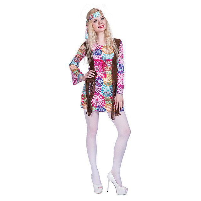 Hippie Diva Disco 1980s Dress Outfits Headwear Women's Costume Blushing Pink Vintage Cosplay Party Long Sleeve