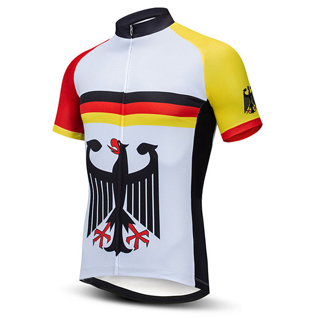 21Grams Men's Short Sleeve Cycling Jersey Black / Yellow Stripes Germany National Flag Bike Jersey Top Mountain Bike MTB Road Bike Cycling UV Resistant Breathable Quick Dry Sports Clothing Apparel