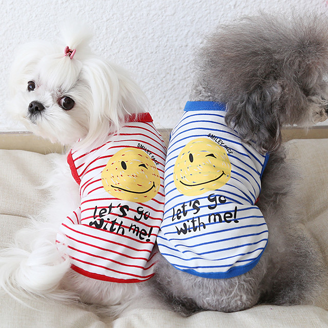 Dog Costume Vest Dog Clothes Breathable Red Blue Costume Beagle Bichon Frise Chihuahua Cotton Stripes Quotes & Sayings Casual / Sporty Cute XS S M L XL