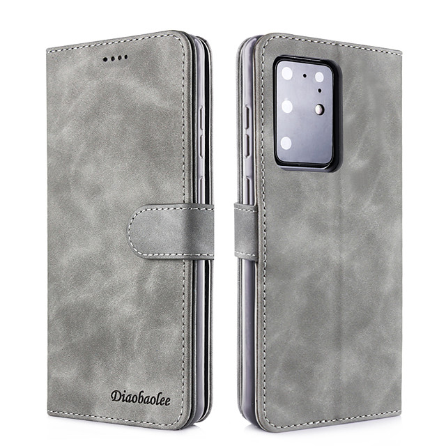 Samsung S20Plus Fresh Pure Color Flip Leather Case for Mobile Phone Case Note10Pro Pluggable Wallet Type Anti-fall S9 / S8Plus Protective Shell