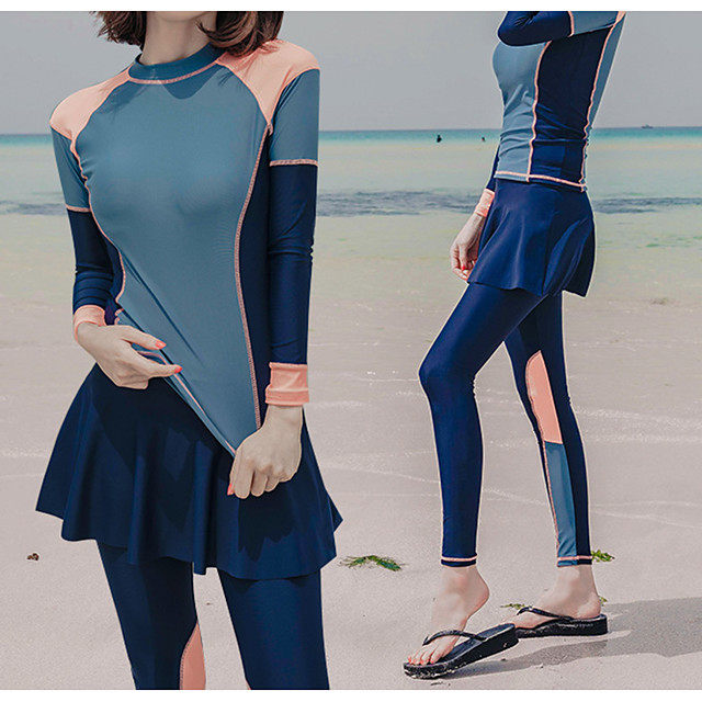 Women's Rash Guard Dive Skin Suit Diving Suit UV Sun Protection Anatomic Design Full Body Front Zip 3-Piece - Diving Water Sports Patchwork Summer / Micro-elastic