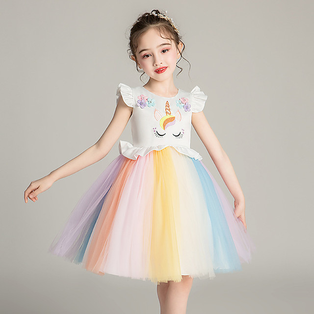 Unicorn Dress Girls' Movie Cosplay Cosplay Costume Party Pink / White Dress Sequin Polyster