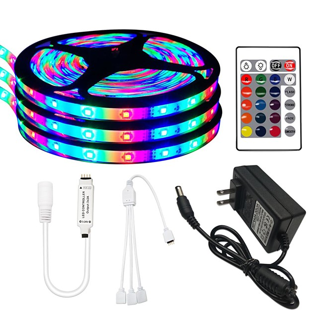 3x5M Flexible LED Strip Lights / RGB Tiktok Lights /24Key Remote Controls 810 LEDs SMD3528 8mm 1 24Keys Remote Controller / 1 x 12V 3A Adapter RGB Change Christmas / New Year's Waterproof / 100-240