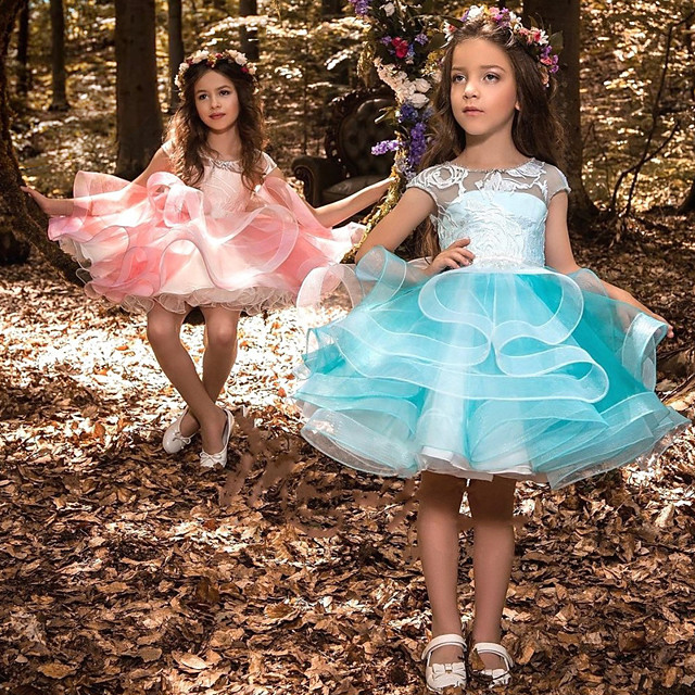 Princess Dress Flower Girl Dress Girls' Movie Cosplay A-Line Slip Cosplay Pink / Blue Dress Halloween Carnival Masquerade Tulle Polyester