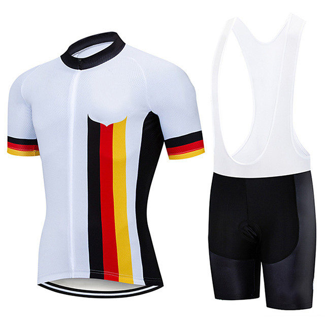 21Grams Men's Short Sleeve Cycling Jersey with Bib Shorts White Germany National Flag Bike Clothing Suit UV Resistant Breathable 3D Pad Quick Dry Sweat-wicking Sports Germany Mountain Bike MTB Road