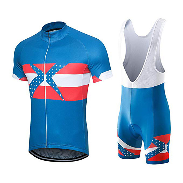 21Grams Men's Short Sleeve Cycling Jersey with Bib Shorts Blue / White Austria National Flag Bike Clothing Suit UV Resistant Breathable 3D Pad Quick Dry Sweat-wicking Sports Solid Color Mountain Bike
