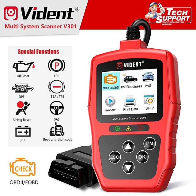 Vident V301 Car Diagnostic Scanner OBD2 Diagnostic Tool for VW Audi Skoda Seat OBD2 Automotive Scanner OBD Code Reader