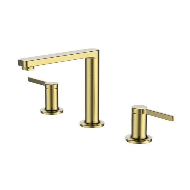 Bathroom Sink Faucet - Deck-mounted Double Handle Brushed Gold Finish Brass Sink Faucet Bathroom Mixer Tap