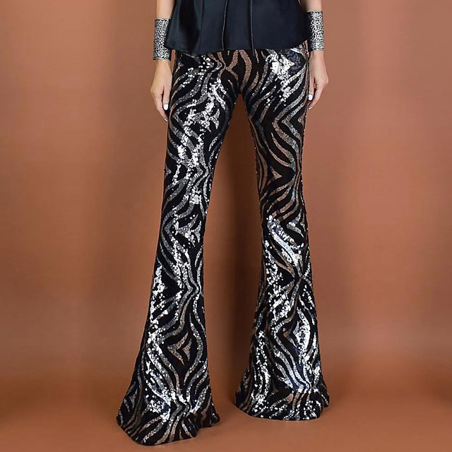 Hippie Disco Vintage Boho 1960s Pants Flowy Pants Women's Sequins Spandex Sequin Costume Black Vintage Cosplay Party