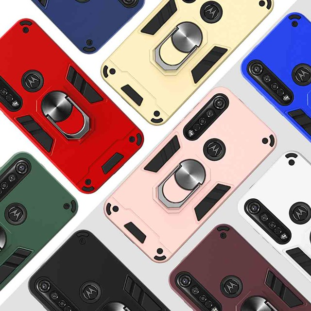 Case For Motorola Moto G6 Play / Moto E5 / MOTO G8PLUS 360° Rotation / Shockproof / Ring Holder Back Cover Solid Colored TPU / PC