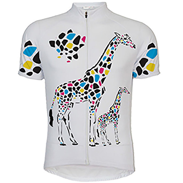 21Grams Men's Short Sleeve Cycling Jersey Yellow White Animal Giraffe Bike Jersey Top Mountain Bike MTB Road Bike Cycling UV Resistant Breathable Quick Dry Sports Clothing Apparel / Stretchy