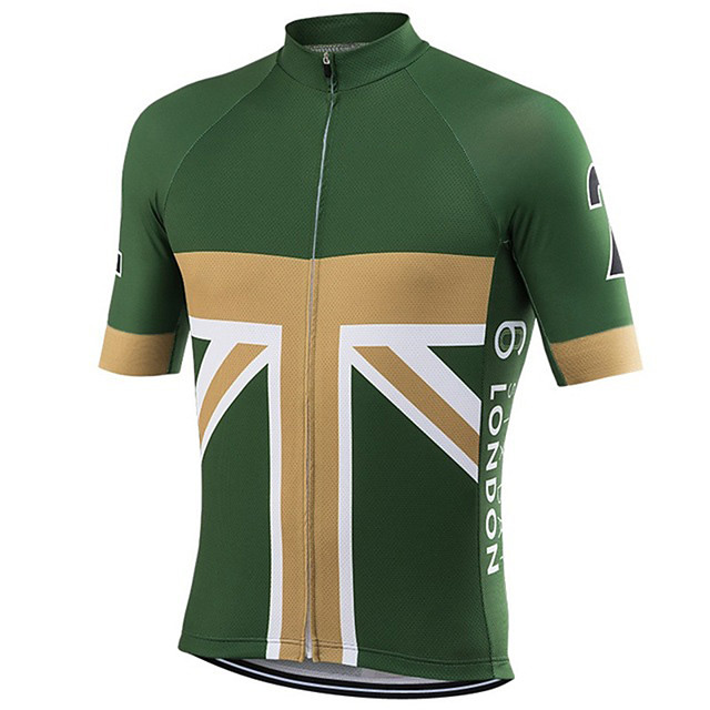21Grams Men's Short Sleeve Cycling Jersey Green / Yellow UK National Flag Bike Jersey Top Mountain Bike MTB Road Bike Cycling UV Resistant Breathable Quick Dry Sports Clothing Apparel / Stretchy