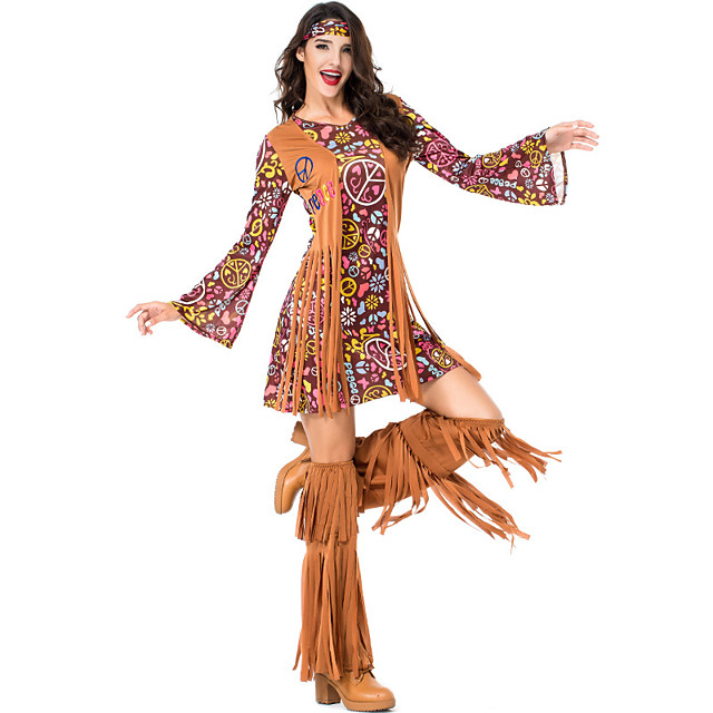Hippie Diva Disco 1980s Dress Outfits Headwear Women's Tassel Fringe Costume Burgundy Vintage Cosplay Party Long Sleeve