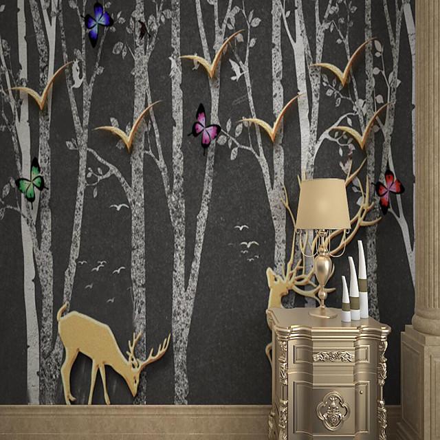 Art Deco Custom Self-adhesive Mural Wallpaper Simple Birch Forest Golden Deer Suitable For Bedroom Living Room Coffee Shop Restaurant Hotel Wall Decoration Art Room Wallcovering