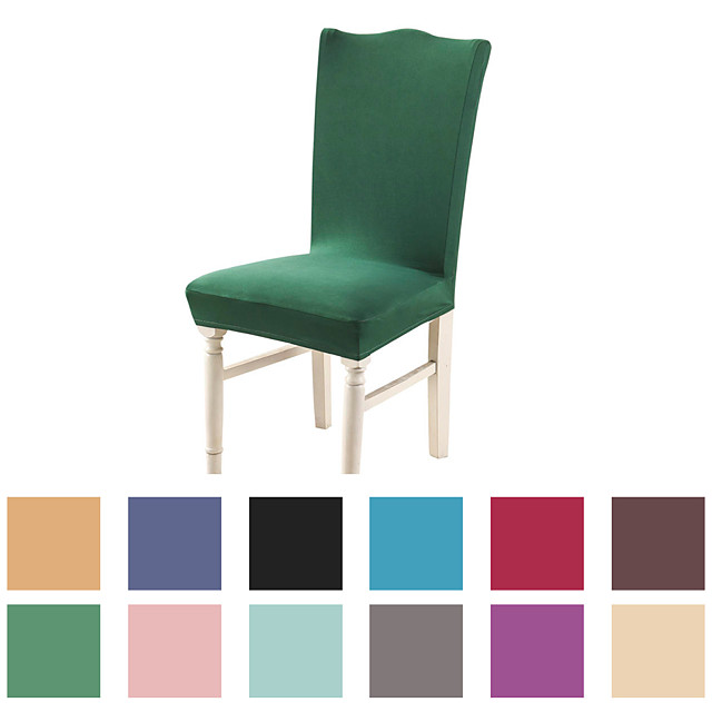 Basic Solid Very Soft Chair Cover Stretch Removable Washable Dining Room Chair Protector Slipcovers Home Decor Dining Room Seat Cover