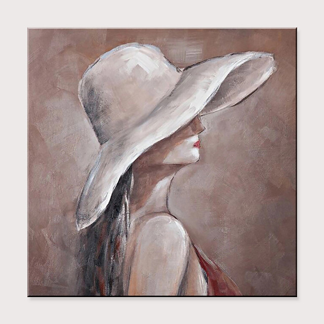 Straw Hat Girl Women Paintings Portrait Oil Painting On Canvas Wall Art