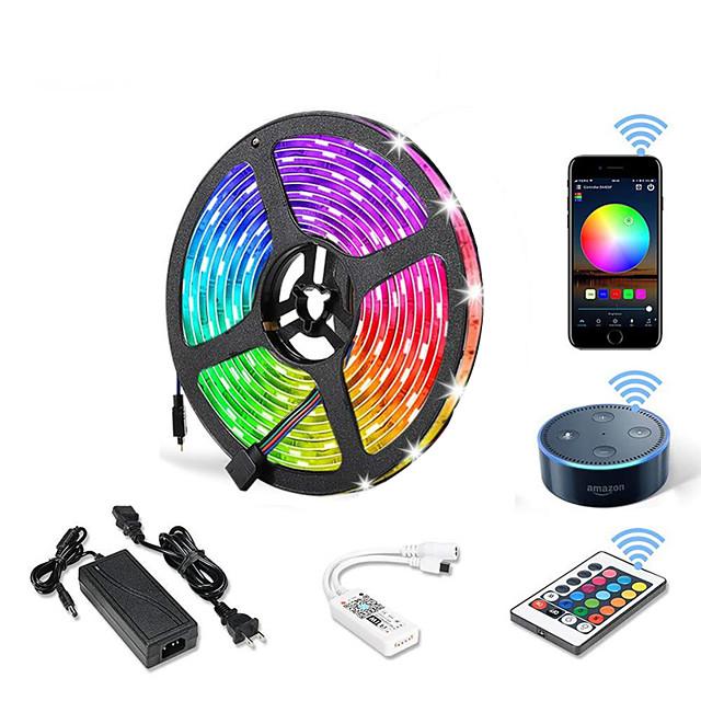 5m WIFI Set Light Strip Flexible LED Strip Lights RGB Tiktok Lights 300 LEDs SMD5050 10mm 1 24Keys Remote Controller 1 X 12V 5A Power Supply 1 set Color-changing IP20 APP Control