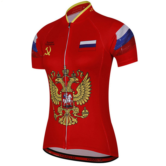 21Grams Women's Short Sleeve Cycling Jersey Red / Yellow Russia National Flag Bike Jersey Top Mountain Bike MTB Road Bike Cycling UV Resistant Breathable Quick Dry Sports Clothing Apparel / Stretchy