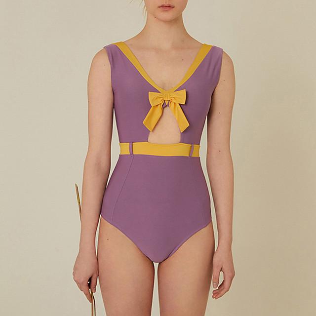 Women's One Piece Swimsuit Patchwork Padded Swimwear Swimwear Purple Breathable Quick Dry Comfortable Sleeveless - Swimming Water Sports Summer / Elastane / High Elasticity