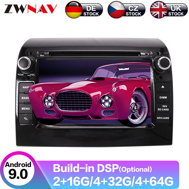 ZWNAV 7inch 2din Android 9.0 4GB 64GB Car DVD Player Car Multimedia Player Car GPS Stereo Navigation Bluetooth WiFi Steering Wheel Control WiFi Radio for Fiat Ducato 2011-2015