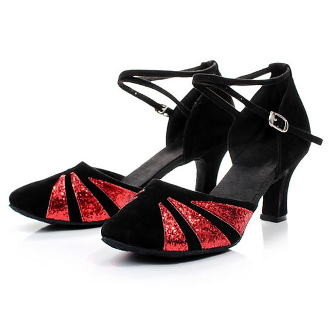 Women's Latin Shoes PU Heel Cuban Heel Dance Shoes Black / Gold / Fuchsia