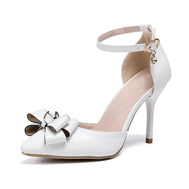 Women's Wedding Shoes Stiletto Heel Pointed Toe PU Spring & Summer White