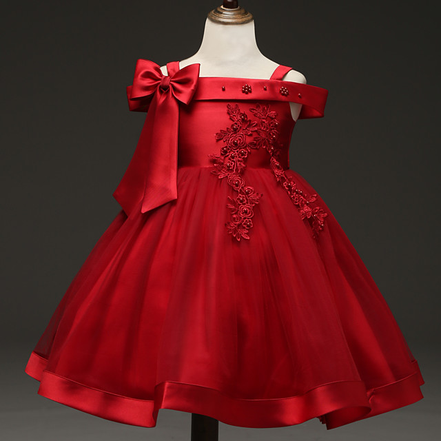 Princess Dress Flower Girl Dress Girls' Movie Cosplay A-Line Slip Cosplay Red / Green Dress Halloween Carnival Masquerade Tulle Bead Polyester