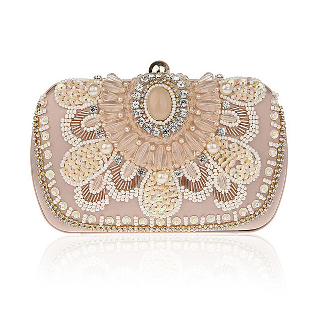 Women's Crystals / Chain Polyester / Alloy Evening Bag Floral Print Black / Champagne / Beige