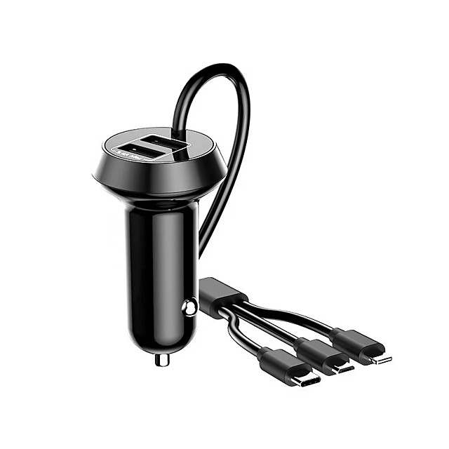 Car Charger 5W /3.4A 3 USB Quick Charge Car Charger Adapter with Cable -Black