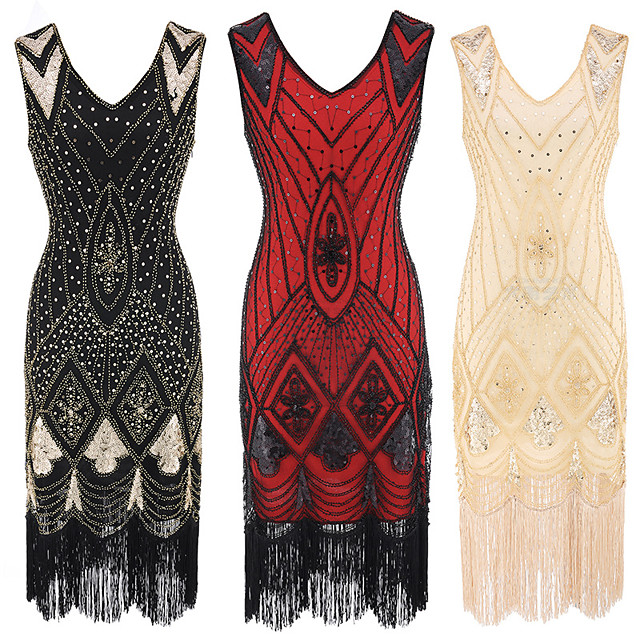 The Great Gatsby Vintage 1920s Flapper Dress Dress Party Costume Women's Sequin Costume Golden / Silver / Red Vintage Cosplay Party Sleeveless