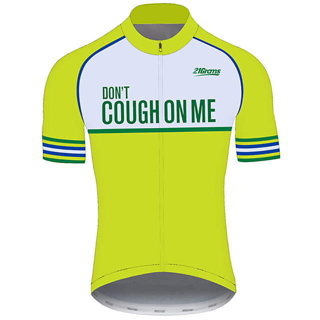 21Grams Men's Short Sleeve Cycling Jersey Green Novelty Bike Jersey Top Mountain Bike MTB Road Bike Cycling UV Resistant Breathable Quick Dry Sports Clothing Apparel / Stretchy / Race Fit