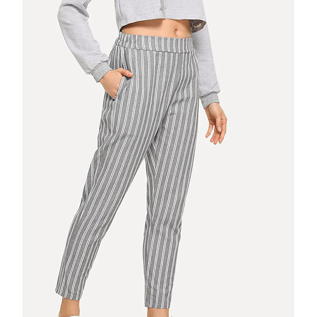 Women's Yoga Pants Stripes Light Grey Cotton Running Fitness Gym Workout Bottoms Sport Activewear Breathable Soft Stretchy