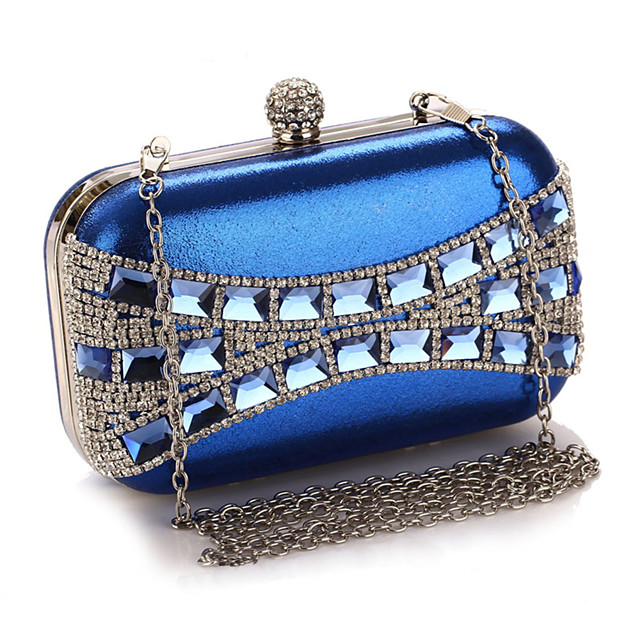 Women's Crystals / Chain Polyester Evening Bag Color Block Black / Silver / Blue