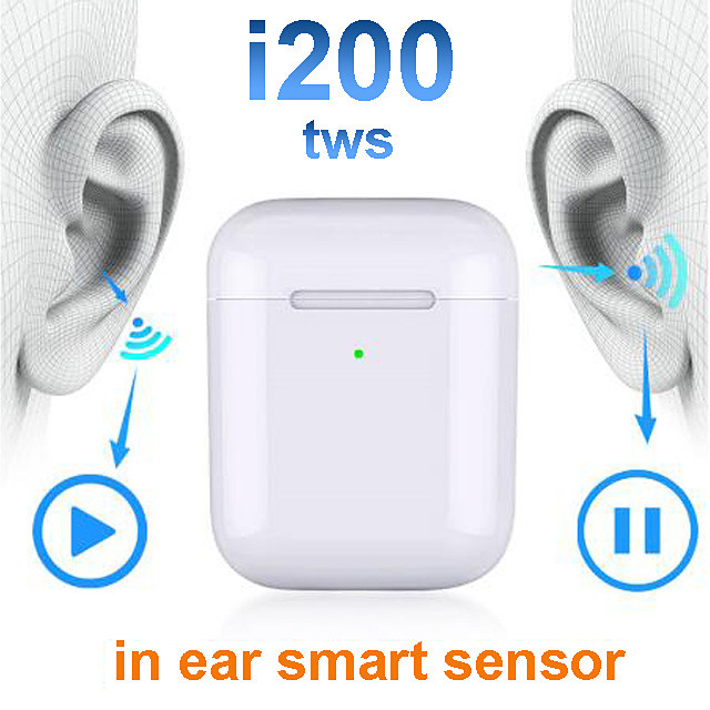 Automatic Ear Detection i200 TWS Bluetooth 5.0 Headsets Smart Sensor Wireless Charging Earphone Pop Up Wireless Charge