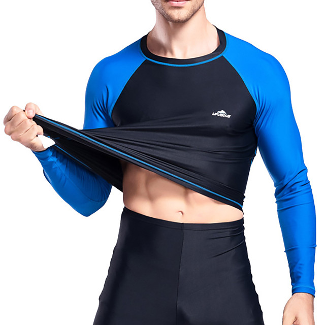 Men's Diving Rash Guard Swimwear Breathable Quick Dry Long Sleeve Swimming Water Sports Patchwork Autumn / Fall Spring Summer / Winter / High Elasticity