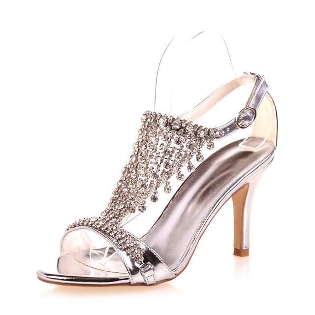 Women's Wedding Shoes Stiletto Heel Open Toe Rhinestone Patent Leather Classic Spring & Summer Gold / Blue / Silver / Party & Evening