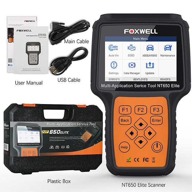 FOXWELL NT650 Elite OBD2 Automotive Scanner ABS SRS SAS DPF Oil Reset Code Reader Professional Car Diagnostic Tool OBD2 Scanner
