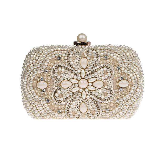 Women's Crystals / Pearls Polyester Evening Bag Floral Print Black / Beige