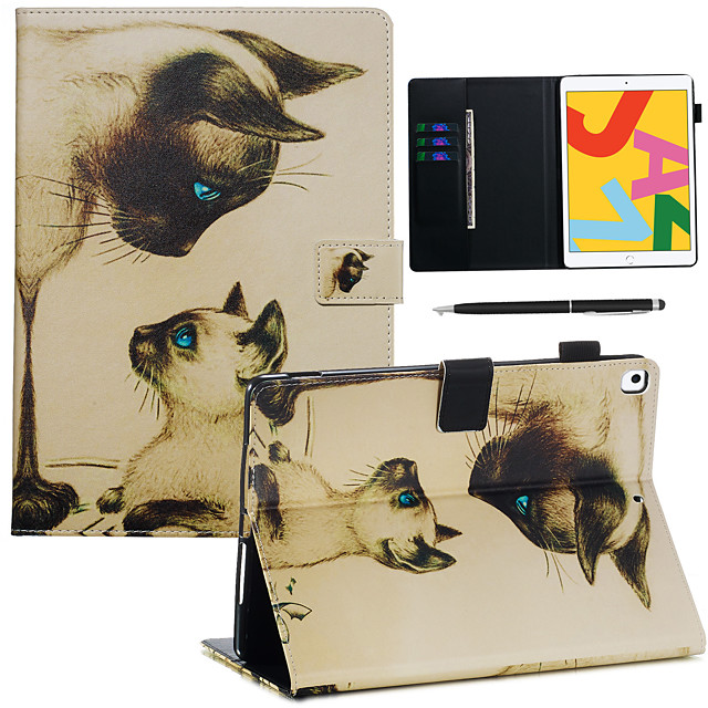 Case&Stylus pen For Apple iPad Pro 10.5 / Ipad air3 10.5' 2019  with Stand / Flip Back Cover Cat PU Leather