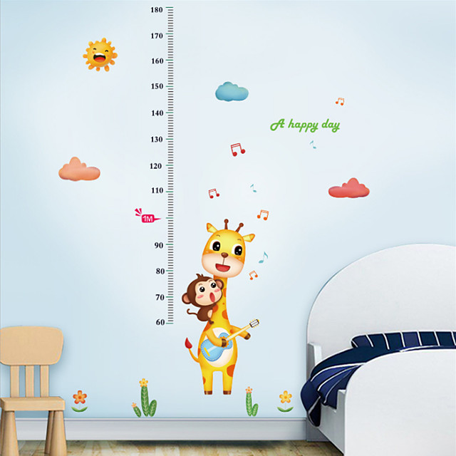 Kids Height Chart Wall Sticker Decor Cartoon Giraffe Monkey Height Ruler Wall Stickers Home Room Decoration Wall Art Sticker Poster