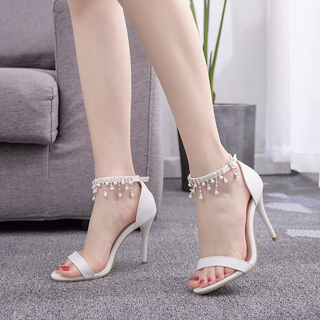 Women's Wedding Shoes Stiletto Heel Pointed Toe Imitation Pearl / Buckle / Tassel PU Sweet / Preppy Fall / Spring & Summer White / Party & Evening